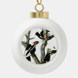 Aububon's Ivory-billed Woodpecker in Ash tree Ceramic Ball Christmas Ornament