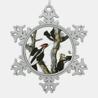 Aububon's Ivory-billed Woodpecker in Ash tree Snowflake Pewter Christmas Ornament