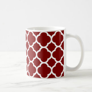Auburn and White Quatrefoil Pattern Classic White Coffee Mug