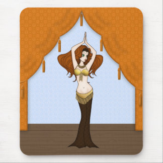 Auburn Hair Bellydancer in Brown and Gold Costume Mouse Pad