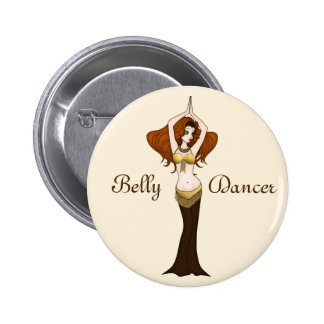 Auburn Hair Bellydancer in Brown and Gold Costume Pinback Button