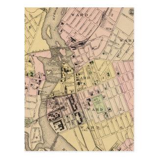 Auburn, Lewiston Map Postcard