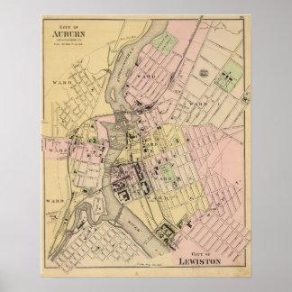 Auburn, Lewiston Map Poster