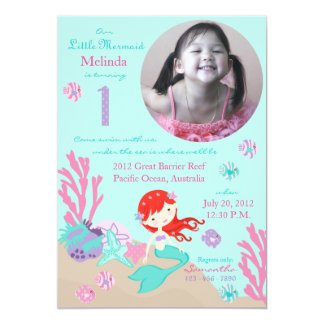 Auburn Mermaid First Birthday Card