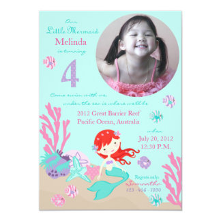 Auburn Mermaid Fourth Birthday 5x7 Paper Invitation Card