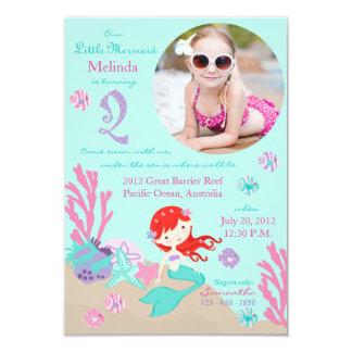 Auburn Mermaid Second Birthday Invitation