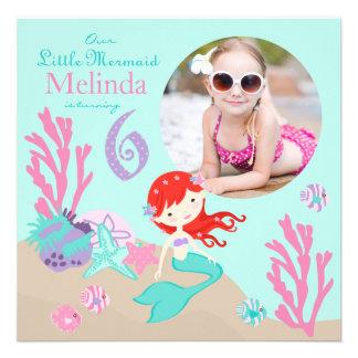 Auburn Mermaid Sixth Birthday Invitation