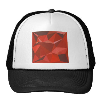 Auburn Red Abstract Low Polygon Background Trucker Hat