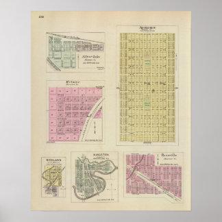Auburn, Silver Lake, Kilmer, and Richland, Kansas Poster