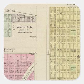 Auburn, Silver Lake, Kilmer, and Richland, Kansas Square Sticker