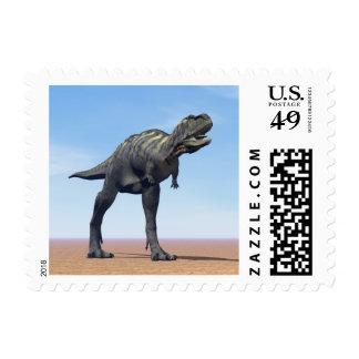 Aucasaurus dinosaur in the desert - 3D render Postage