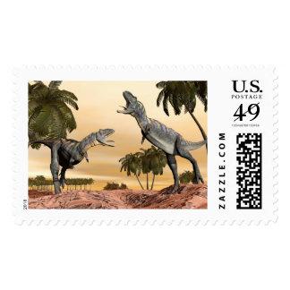 Aucasaurus dinosaurs fight - 3D render Postage