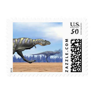 Aucasaurus dinosaurs running - 3D render Postage