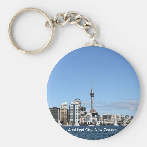 Auckland City, New Zealand by Day Keychains