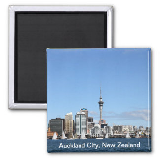 Auckland City, New Zealand by Day 2 Inch Square Magnet
