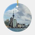 Auckland Cityscape Double-Sided Ceramic Round Christmas Ornament