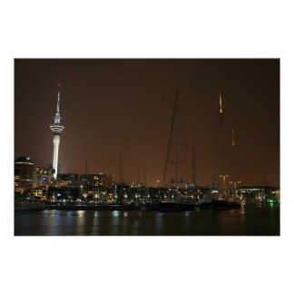 Auckland Harbor by Night Poster