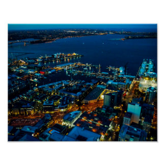 Auckland Marina view from the Sky Tower - Poster