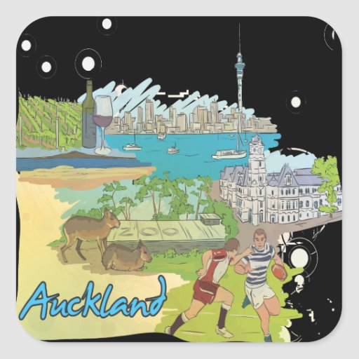 Auckland Pegatina Cuadrada