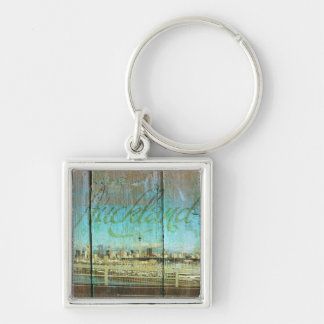 Auckland Waterfront On Old Wood Silver-Colored Square Keychain