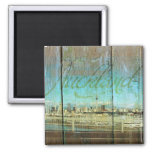 Auckland Waterfront On Old Wood Refrigerator Magnet