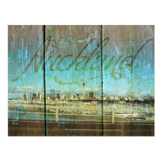 Auckland Waterfront On Old Wood Postcard