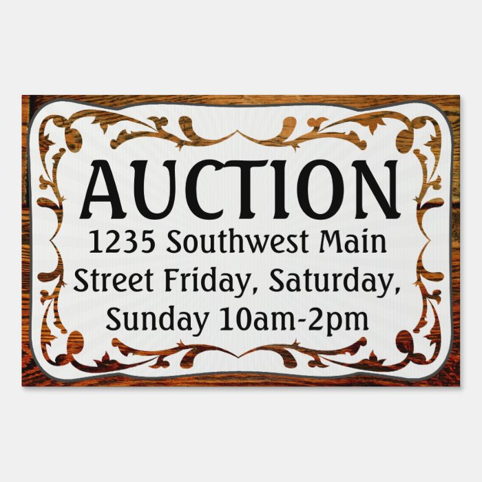 Auction, Vintage Wood-Look Yard Sign