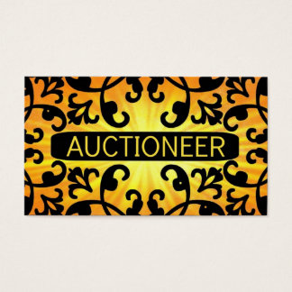 Auctioneer Sunshine Damask Business Card