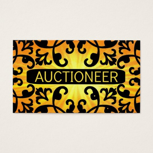 Auctioneer Sunshine Damask Business Card