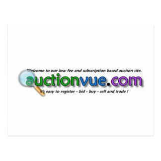 auctionvue.com logo with no auction hammer postcard