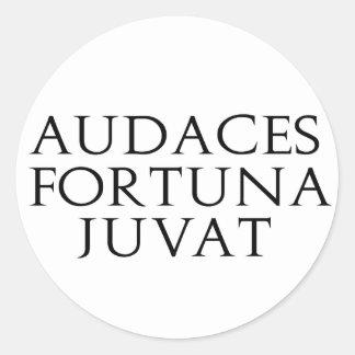 Audaces Fortuna Juvat Classic Round Sticker