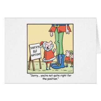 Audición del duende del dibujo animado del navidad tarjeta de felicitación