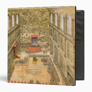 Audience Chapel at the Vatican (colour engraving) 3 Ring Binder
