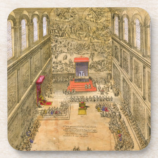 Audience Chapel at the Vatican (colour engraving) Drink Coaster