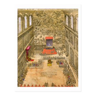 Audience Chapel at the Vatican (colour engraving) Postcard