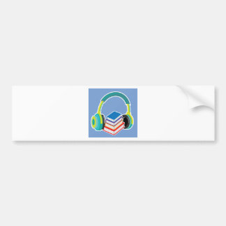 Audio books Headphones and Books Icon Bumper Sticker