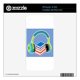 Audio books Headphones and Books Icon Decal For The iPhone 4