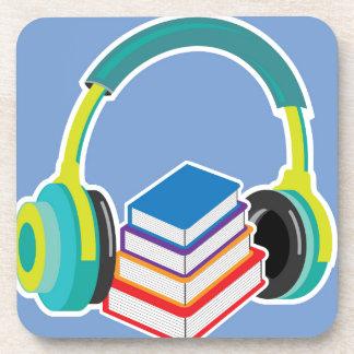 Audio books Headphones and Books Icon Drink Coaster