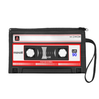 Audio casette tape wristlet purse
