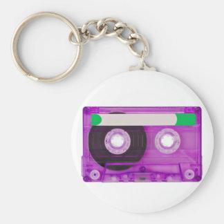 audio compact cassette basic round button keychain