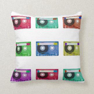 audio compact cassette throw pillows