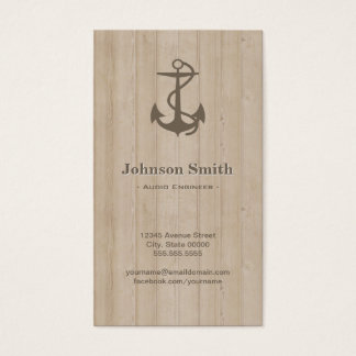 Audio Engineer - Nautical Anchor Wood Business Card