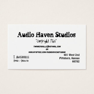 Audio Haven Studios, T. Maiseroulle, Owner / Op... Business Card
