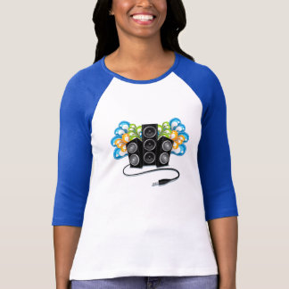 audio speakers in abstract, t-shirt design