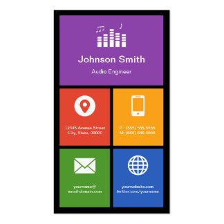 Audio Studio Company - Colorful Tiles Creative Business Cards