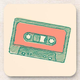 Audio tape sketch beverage coaster