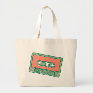Audio tape sketch large tote bag