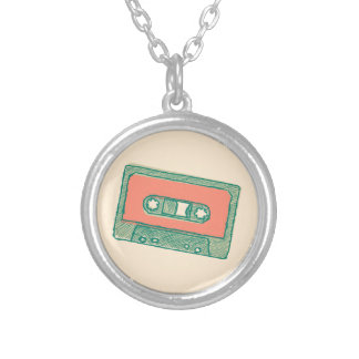 Audio tape sketch silver plated necklace