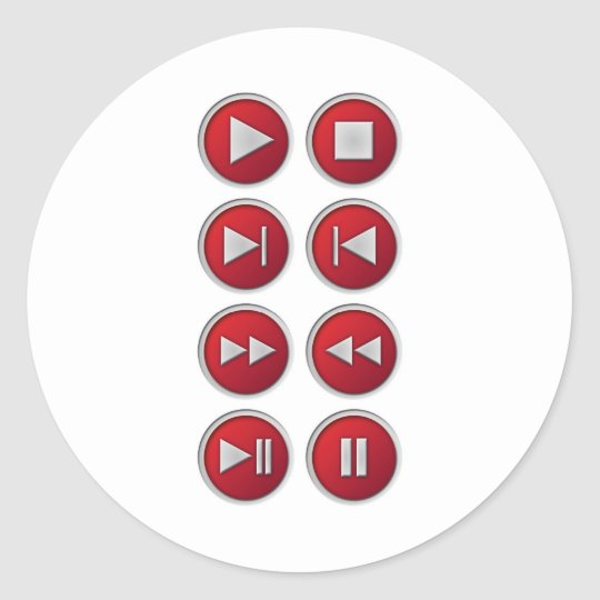 audio / video buttons classic round sticker
