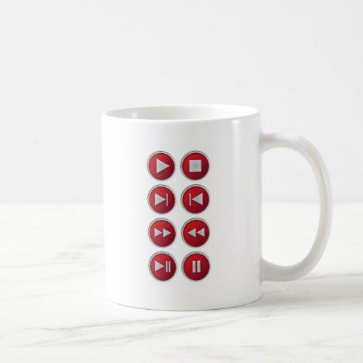 audio / video buttons coffee mug